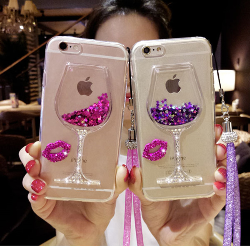 3D Liquid Quicksand Bling Rhinestone Wine Glass Pattern Phone Case with Hang Rope For iPhone 7/ 7 Plus,iPhone 5 5S SE / 6 6s / 6 iPhone