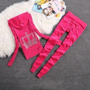 Image 5 - Marka Eşofman Kadife Kumaş Eşofman Kadife Kıyafetler Hoodies Üstleri ve Ter pantolon seti S xl