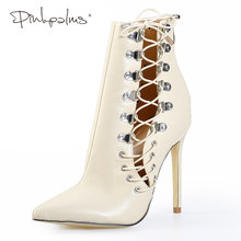 7a242616 Różowy Palms buty kobiety Lace-up zimowe seksowne botki za kostkę kobiet  szpilki krzyż Tied