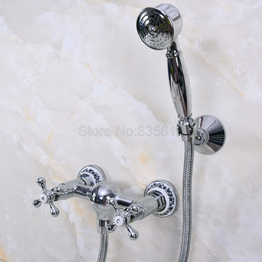 Chrome faucets bathroom bathtub mixer tap faucet with telephone hand shower set Bath & Shower Faucets tna275 ledeme chrome plated bathroom bathtub faucets mixer shower set tap with hand brass bathroom bathtub faucet shower head set l2049