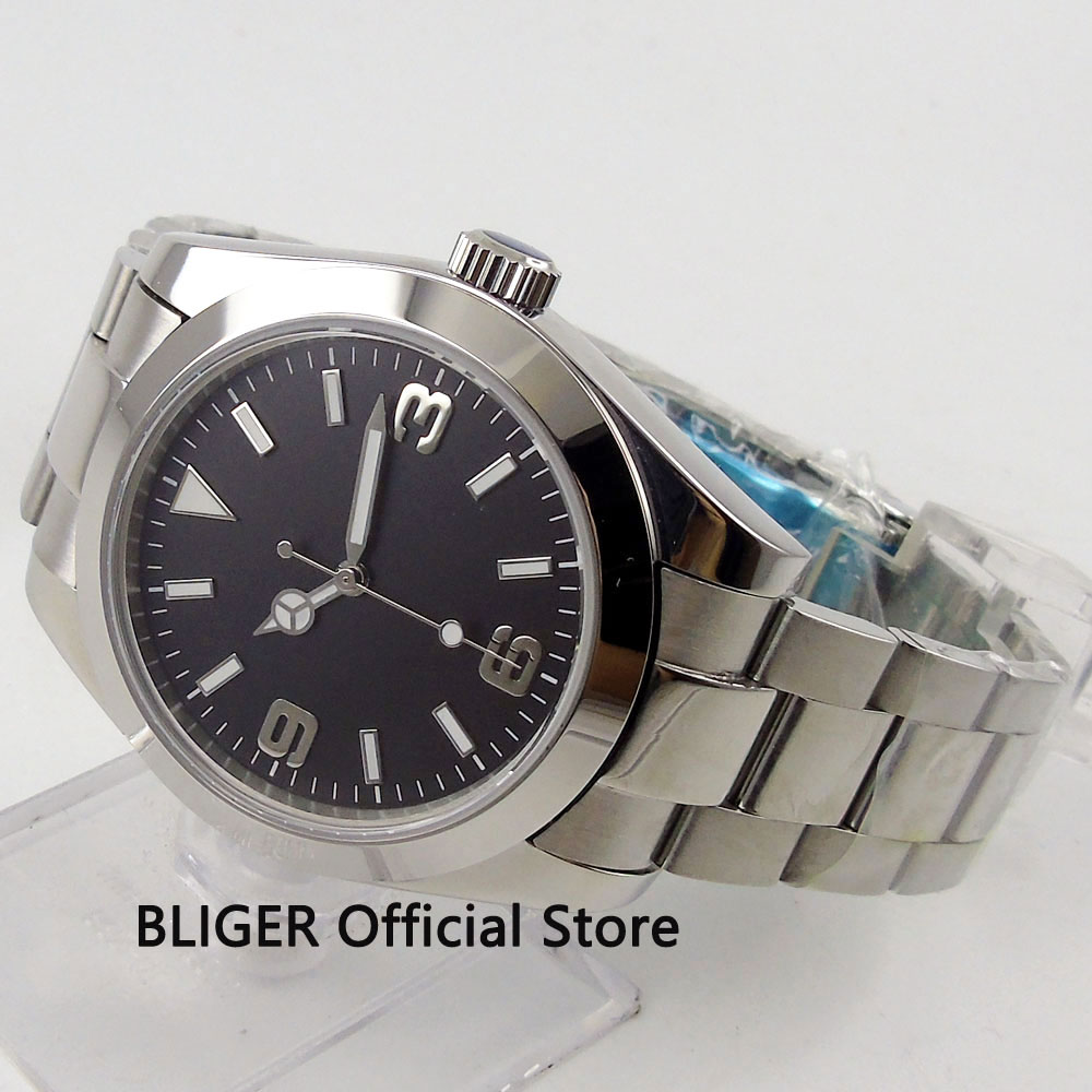 Sapphire Glass 40mm Black Sterile Dial Polished Case Luminous Marks Stainless Steel Band Automatic Movement Men