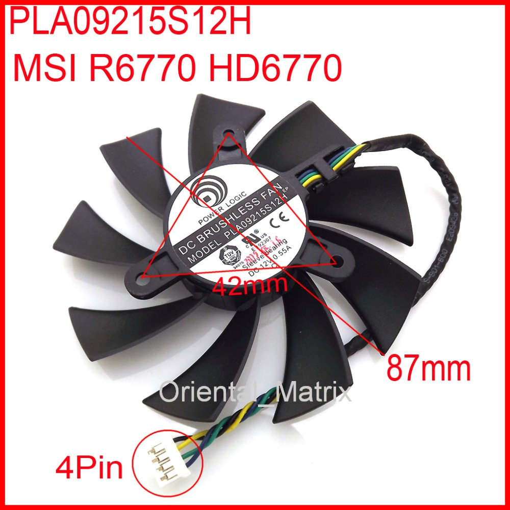 Free Shipping PLA09215S12H 87mm Fan For MSI R6770 HD6770 Graphics Card Cooling Fan 42mm x 42mm x 42mm 12V 0.55A 4Wire free shipping 128015 sh2 12v 0 40a 75mm 47x47x47mm for sparkle gtx460 culb 3d hd7750 graphics card cooling fan 4pin 4wire