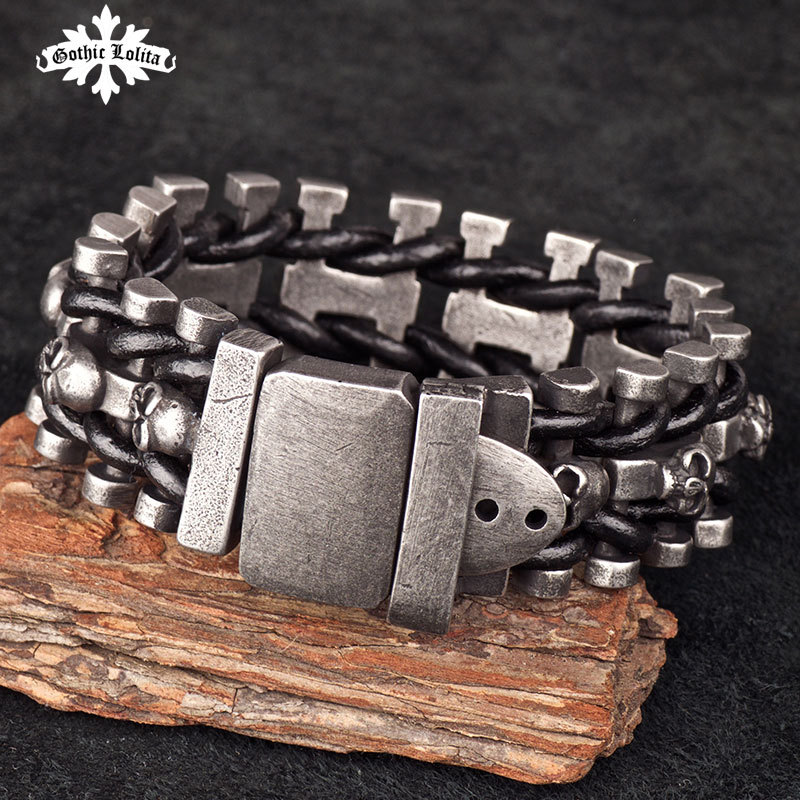 цена на Wide skull skeleton leather bracelet for men with stainless steel cuff loom brands Belt Buckle