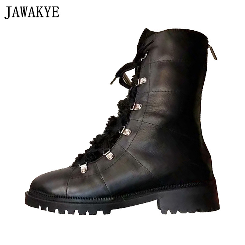 JAWAKYE designer Motorcycle Boots platform flat Heel Botas Mujer cross tied woolen winter shoes Snow Boots Ankle Boots for women 2016 new brand designer tassels snow boots for women good quality winter boots genuine leather boots platform botas mujer