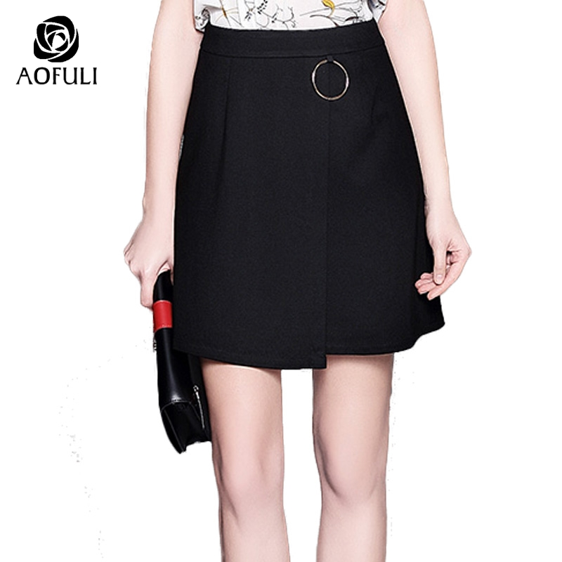AOFULI S- 5XL Modern Asymmetrical Black Skirt 2017 Golden Ring Fashion  A-line Lady
