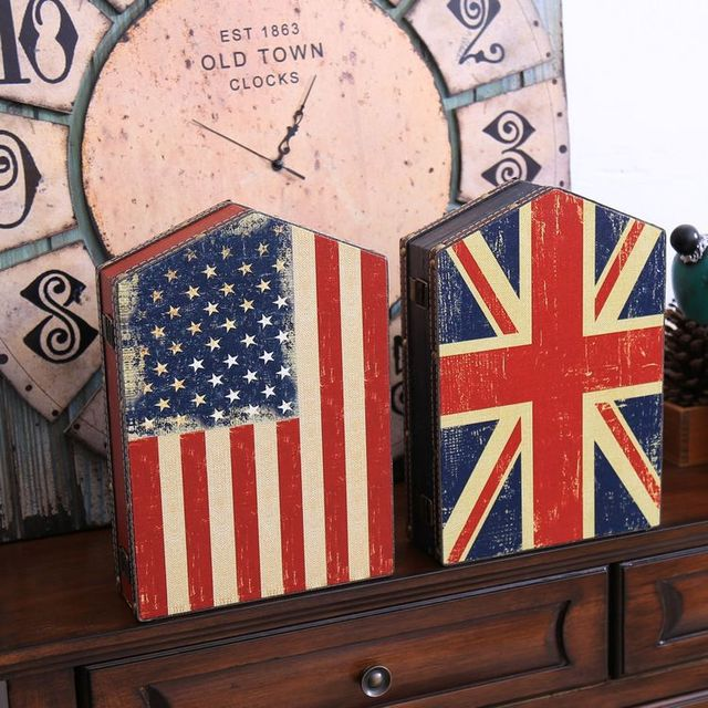 Vintage Home Decor Storage Box Bar Decoration Flag Style Key Box Wooden Box For Key Switch