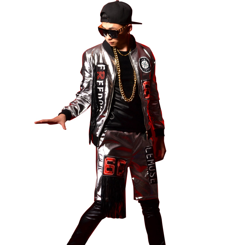 Men Women Nightclub Stage Show Clothing Tassel Splice Silver Jacket Male Fashion Hiphop Leather Coat Custom Made Costumes-in Jackets from Men's Clothing    1