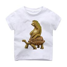 T-Shirt Children Printing Kids Clothes Short Sleeves t shirt tshirt Tortoise Sloth Sitting cute funny printing(China)