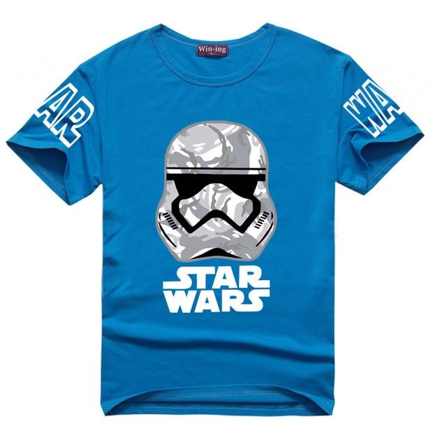 Starwars Stormtrooper Illustration Print T-shirt Cotton Unisex Tee Shirts Teen Loose Homme Tops kid Star Wars The Force Awakens