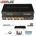 Full-HD 1080p/60HZ HDMI to HDMI + Audio Decoder Audio Edid Setting +Spdif +5.1CH+HP Digital Audio Converter Support 3D CEC/ HDCP
