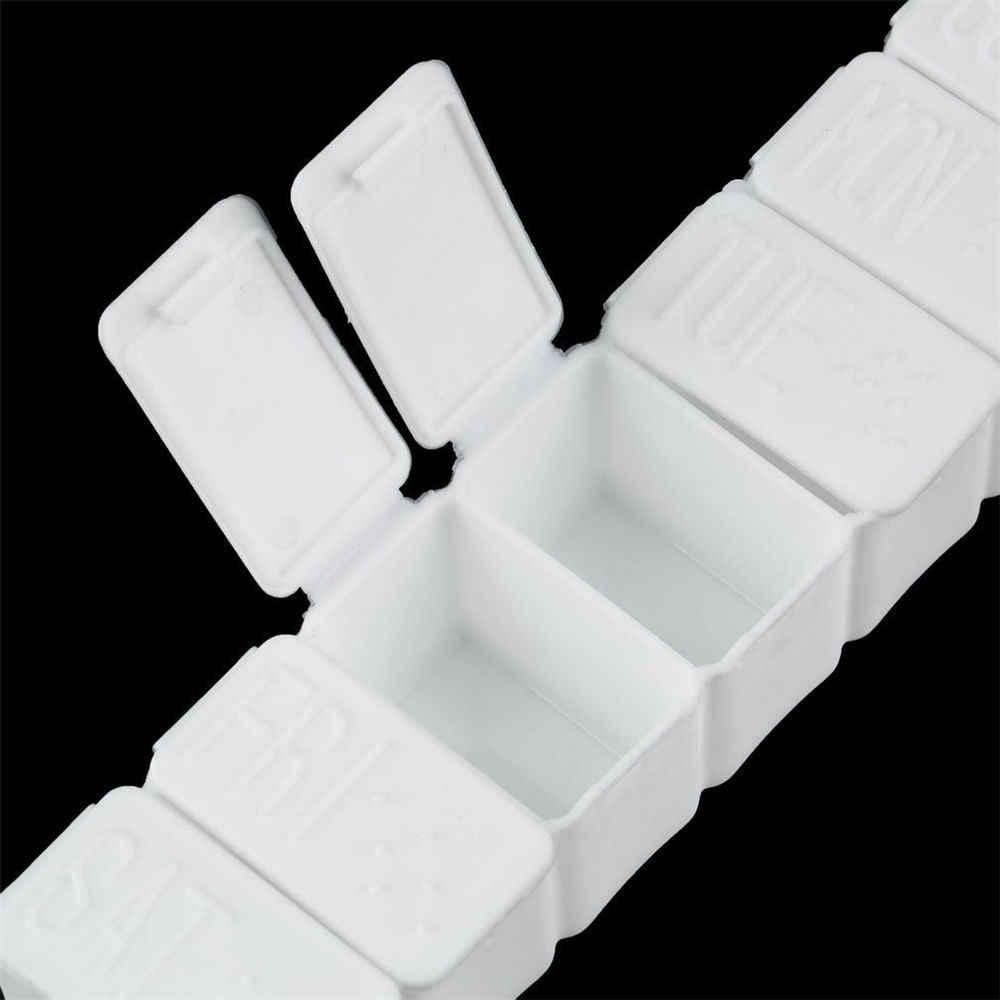 Mini Minggu 7 Hari Tablet Obat Pil Kotak Penyimpanan Kotak Obat Wadah Pemegang Organizer dengan Tutup Dispenser