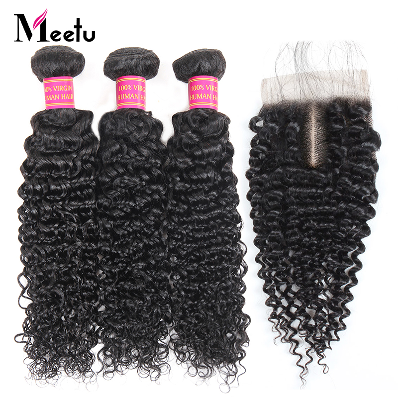 Meetu Peruvian Curly Bundles with Closure 3 Bundles with Lace Closure 100% Human Hair Bundles with Closure 4x4 inch Non Remy