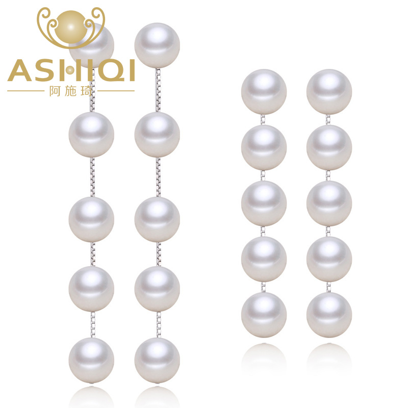 ASHIQI Real 925 Sterling silver dangle earrings , tassel long Natural Freshwater pearl earrings JewelryASHIQI Real 925 Sterling silver dangle earrings , tassel long Natural Freshwater pearl earrings Jewelry