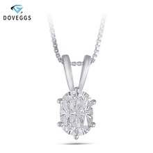 DovEggs Solid 14K White Gold 5*7MM GH Color Cushion Cut Moissanite Diamond Pendant for Women Wedding Gift Classic Gems
