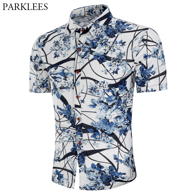 2018 Fashion Mens Slim Fit Short Sleeve Hawaiian Shirt Casual Floral Dress Shirts Men Plus Size Vacation Tops Chemise Homme 4XL