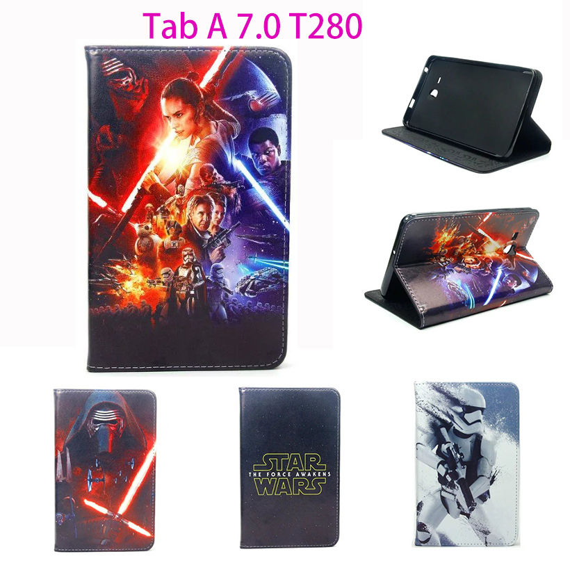 3D science fiction movie Star Wars Case For Samsung Galaxy Tab A a6 7.0 T280 T285 SM-T280 Cover Tablet Stand Leather Funda Cases l a movie