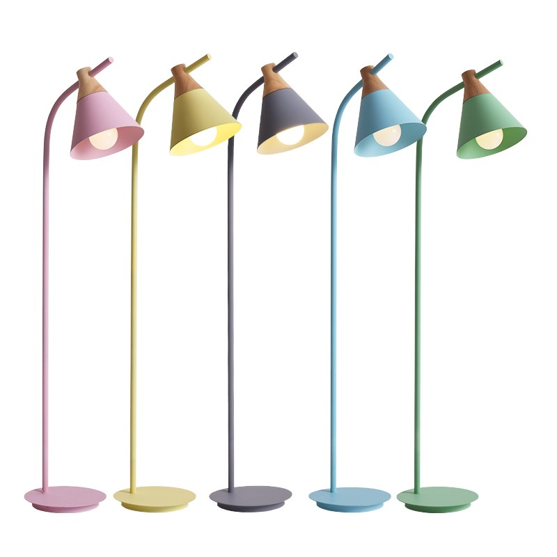 Creative macaron floor lamp psot modern standing lamp for living room bedroom Toolery colorful wood home decoration lighting modern wood table floor lamp living room bedroom study standing lamps fabric decor home lights wooden floor standing lights