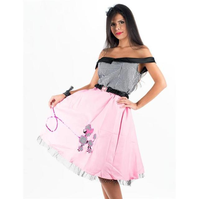 High Quality Classic Nifty Fifties Pink Womens Poodle Skirt Costume Teacher Cosplay Beautiful Dresses Halloween