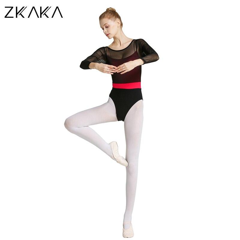 Justaucorps en maille à manches longues pour Ballet adulte ZKAKA