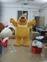 Яркий милый желтый медведь Маскоты костюм Маскоты Te с Черной блестящей нос жира щеки взрослых Размеры