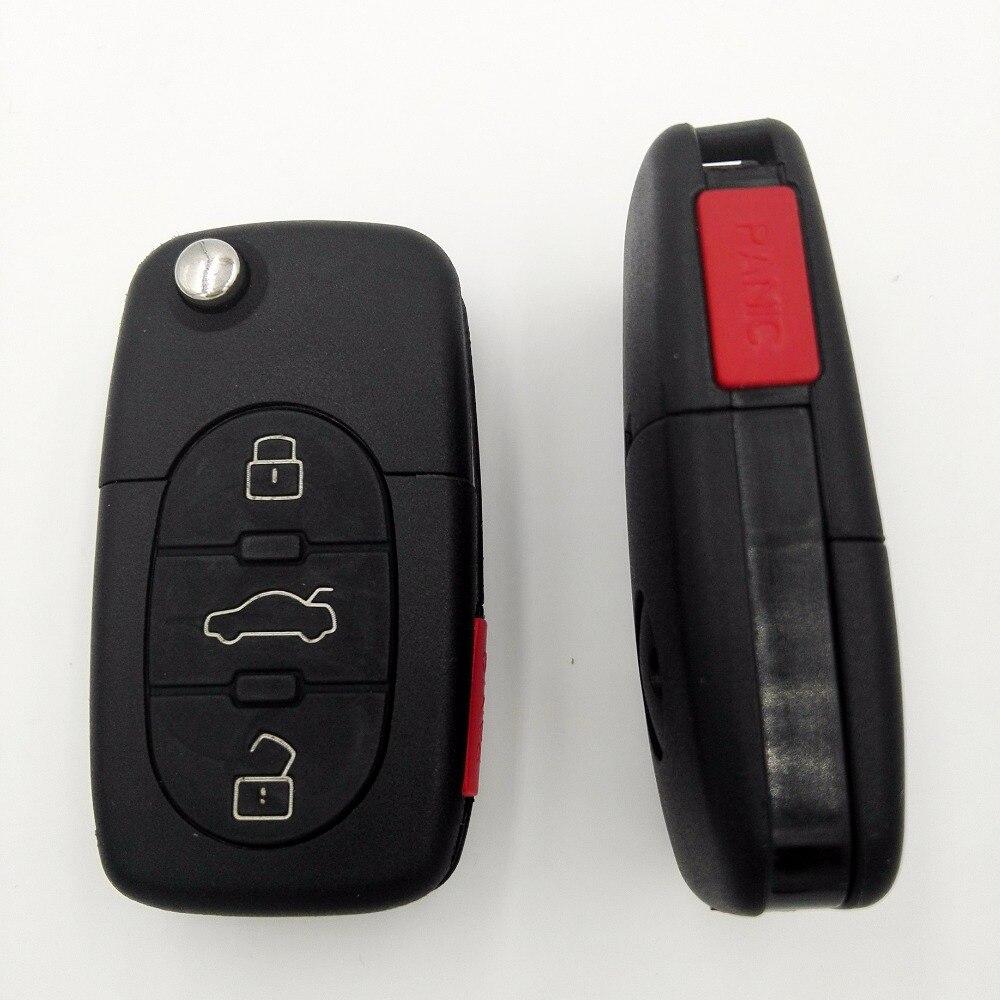 3 4 Buttons Red Panic Button Replacement Folding Car Blank Key For VW Golf 4 5 6 Passat B5 B6 Polo Bora Touran Flip Key Shell