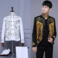 Tassels Sequins wedding dress silm male jacket blazer singer dancer show DS male costumes coat DJ jazz nightclub performance