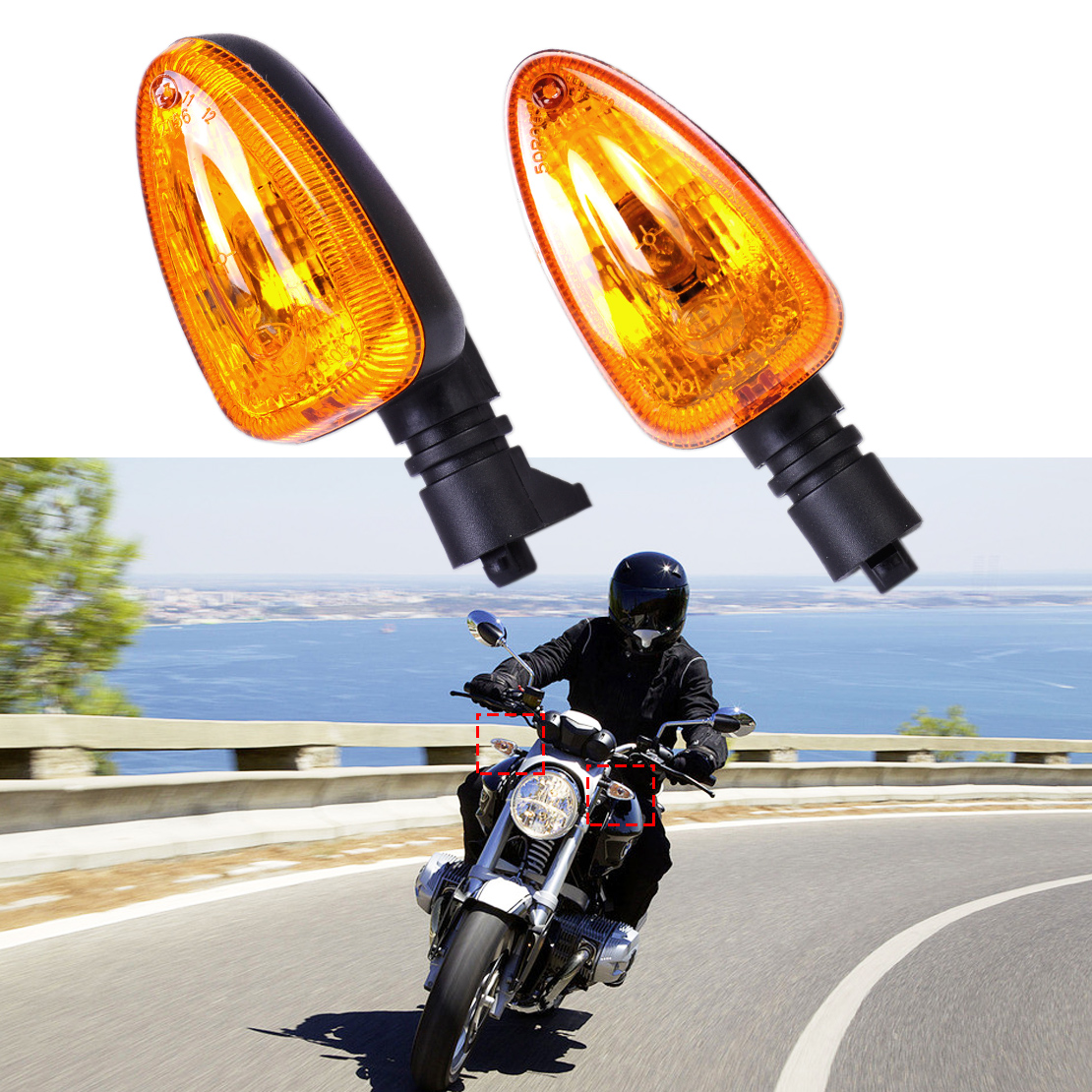 Motorcycle 1 Pair Yellow Turn Signal Indicator Light Lamp Fit for font b BMW b font