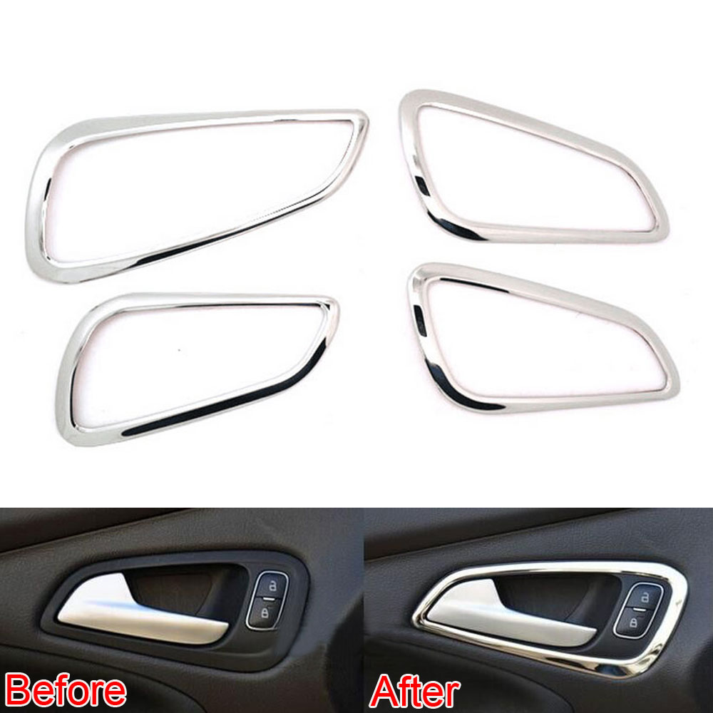 4Pcs/set Car Interior Stainless Steel Inner Door Handle Frame Decorative Cover Trim Fits For Ford 2015 Focus Car Styling