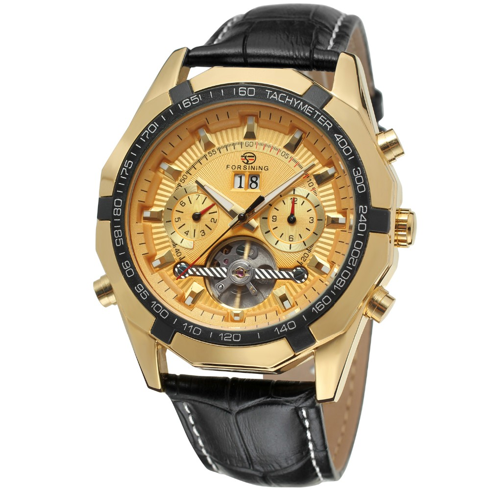 лучшая цена FORSINING Men's Watch Automatic Movement Tourbillion Calendar Luxury Genuine Leather Strap Brand Wristwatch Color Gold