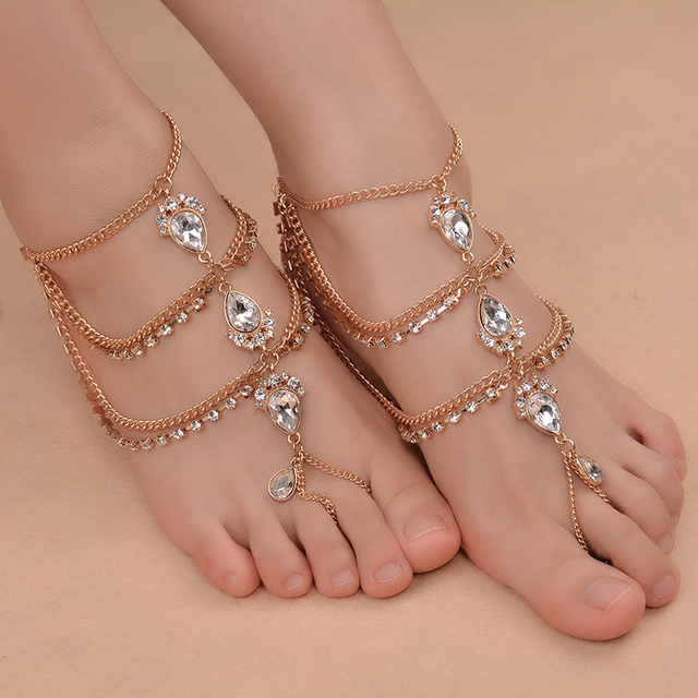 1Piece Punk Sexy Barefoot Sandals Crystal Anklets Ankle Chain Tassels Beach  Foot Jewelry women Girl  243955 785825dfb479