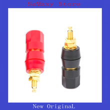 цена на 1PAIR Terminals Red Black Connector Amplifier Terminal Binding Post Banana Speaker Plug Jack Adapter Socket Connector