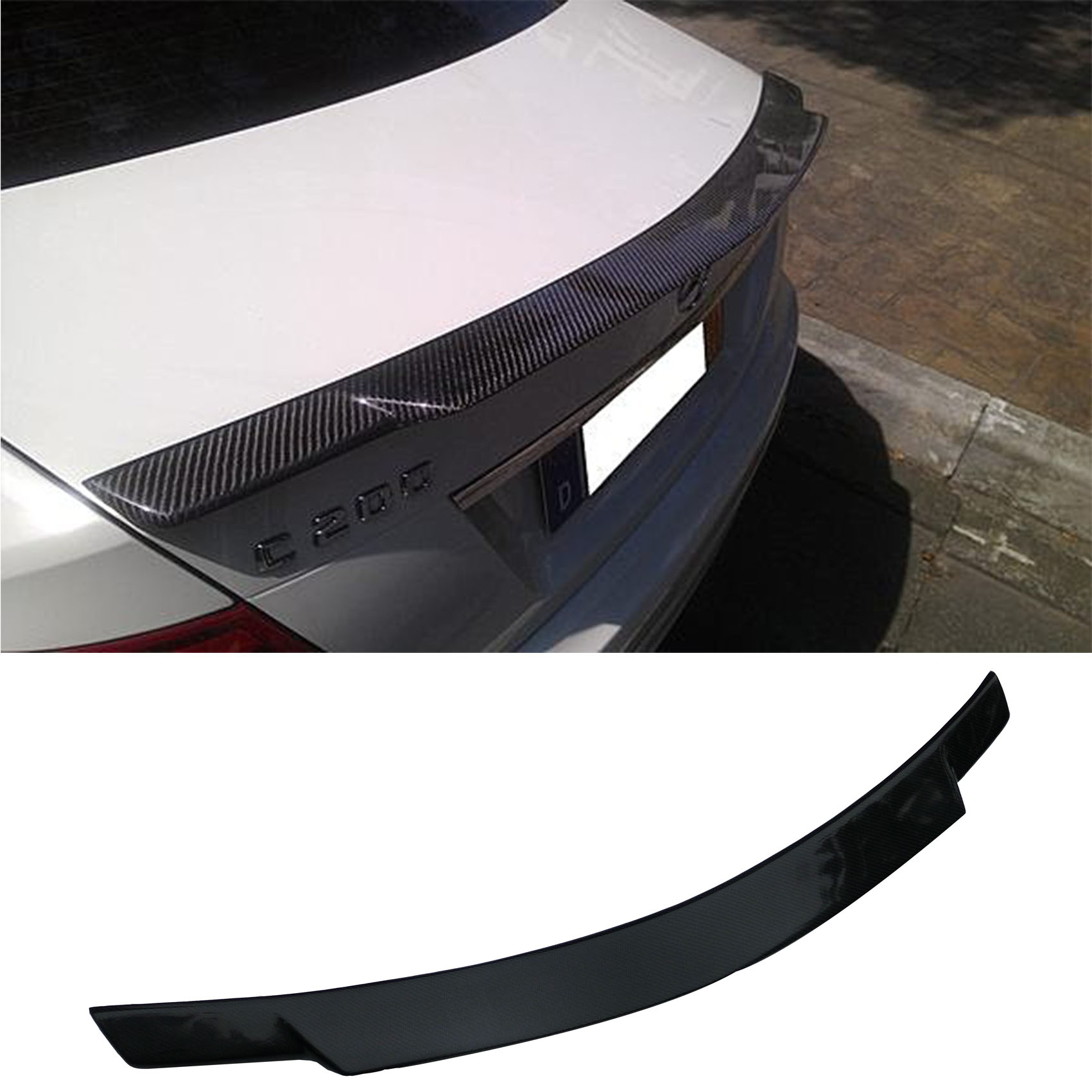2007-2014 W204 Rear Trunk Boot Lip Spoiler Wing for Mercedes Benz Carbon Fiber C74 Style