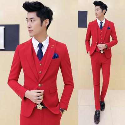 Black suit men blazers stage costumes for singers men 3 pieces mens formal suits groom tuxedo business suit men suit fashion 4