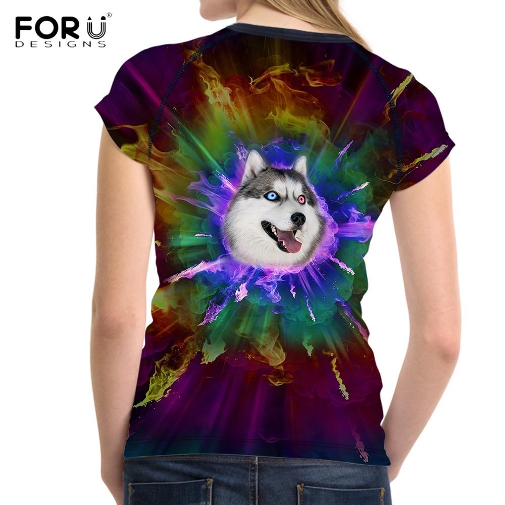 FORUDESIGNS Stylish Women Basic T Shirt Cute 3D Fire Colorful Husky Pug Dog Print Girl Tees Brand Short Sleeve Top Cloth T-shirt