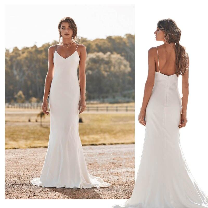 LORIE Mermaid Wedding Dresses Spaghetti Straps 2019 Simple Beach Bride Dress Custom Made Sexy Fairy White Ivory Wedding Gown