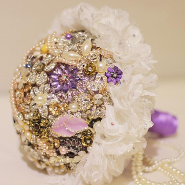 Wedding Bouquet Crystal Flowers: Purple Brooch Bouquet Bridal Crystal Wedding Bouquet