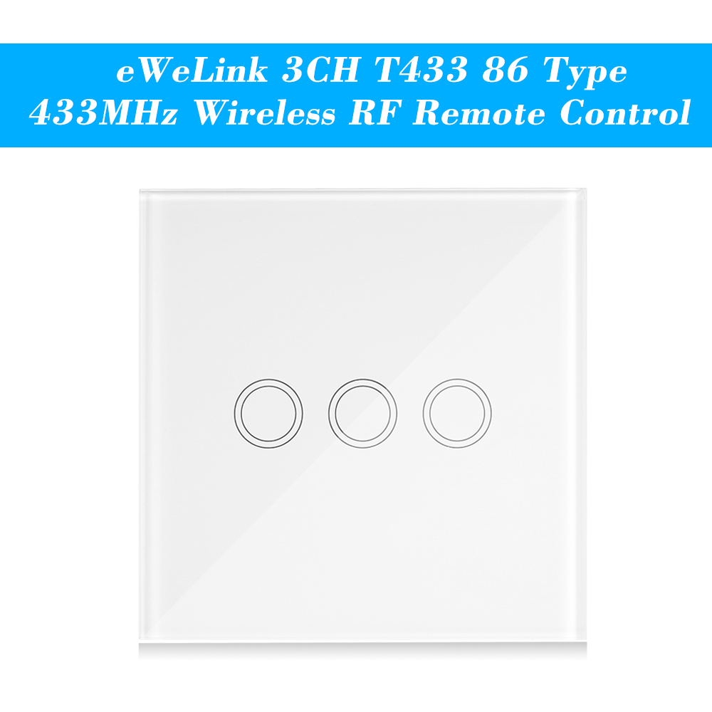 Ewelink Switch T433 86 Type Wall Touch Panel Sticky 433mhz