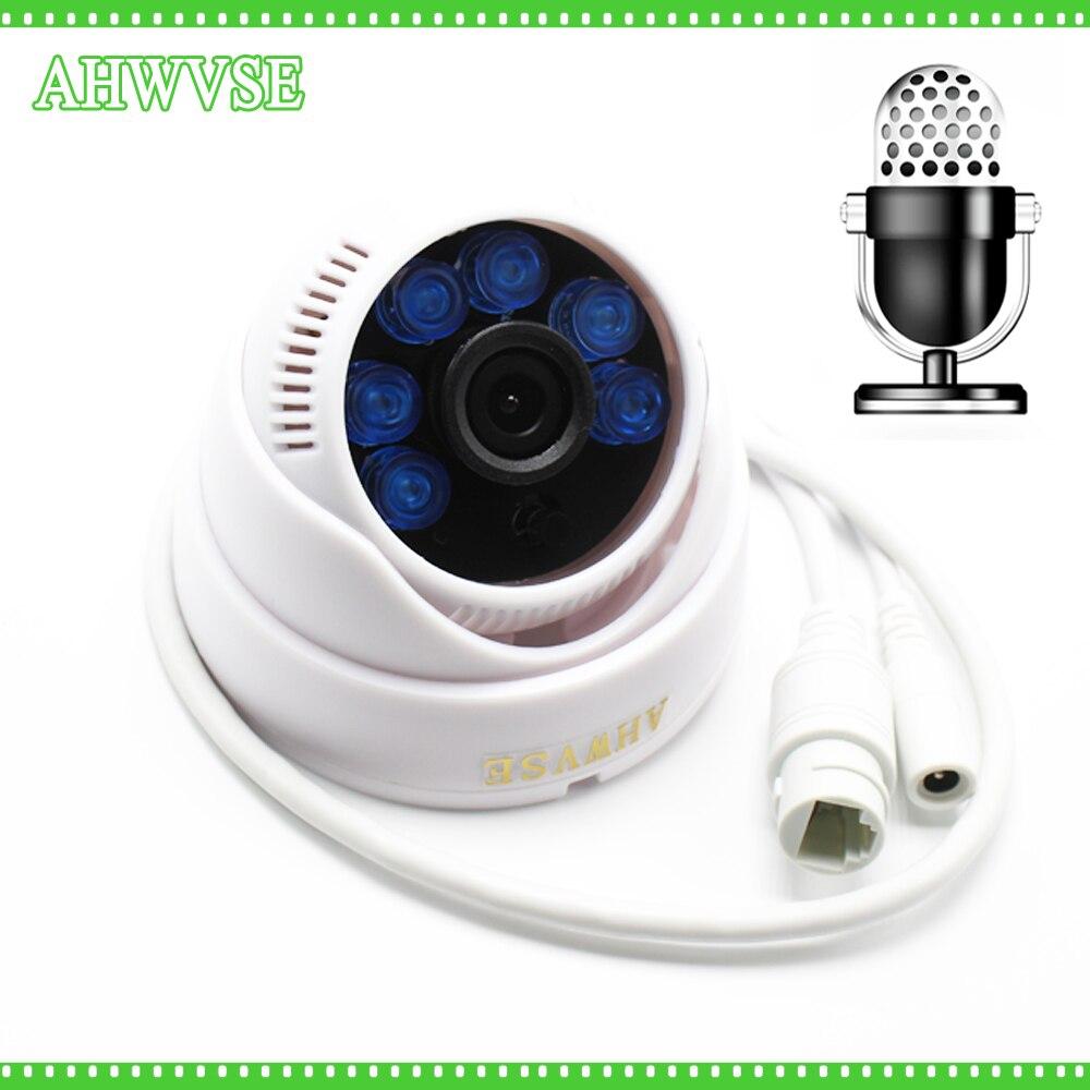 Large Vue 2MP 1080 P IP Caméra Audio Entrée Avec Externe Ramassage Microphone ONVIF P2P Sécurité Dôme Intérieur surveillance NVSIP