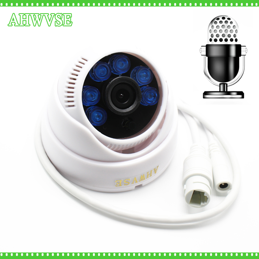 Wide View 2MP 1080P IP Camera Audio Input With External Pickup Microphone ONVIF P2P Security Dome Indoor surveillance NVSIP