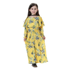 цены на Kids dresses For girls summer Cotton Muslim Dress Girl Islamic Floral Long Sleeves Full Length Robe Burka Maxi Dress F410  в интернет-магазинах