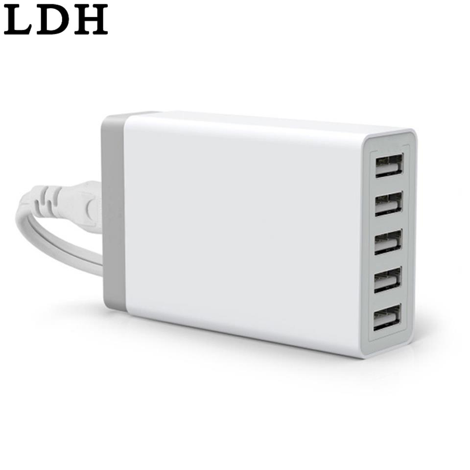 LDH 5 Ports Wall USB Charger Travel Adapter 5V 8A For iPhone Samsung Sony LG Smartphone Charge Socket