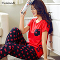 Women's Pajamas Summer Short Sleeve Trousers Pyjamas Cotton Sleepwear At  Home Young Women Lounge Pajama Set