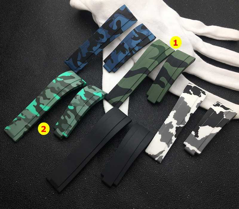 Brand quality 20mm silicone Rubber green camo Watchband watch band For Role strap For Daytona Submariner GMT OYSTERFLEX Bracelet