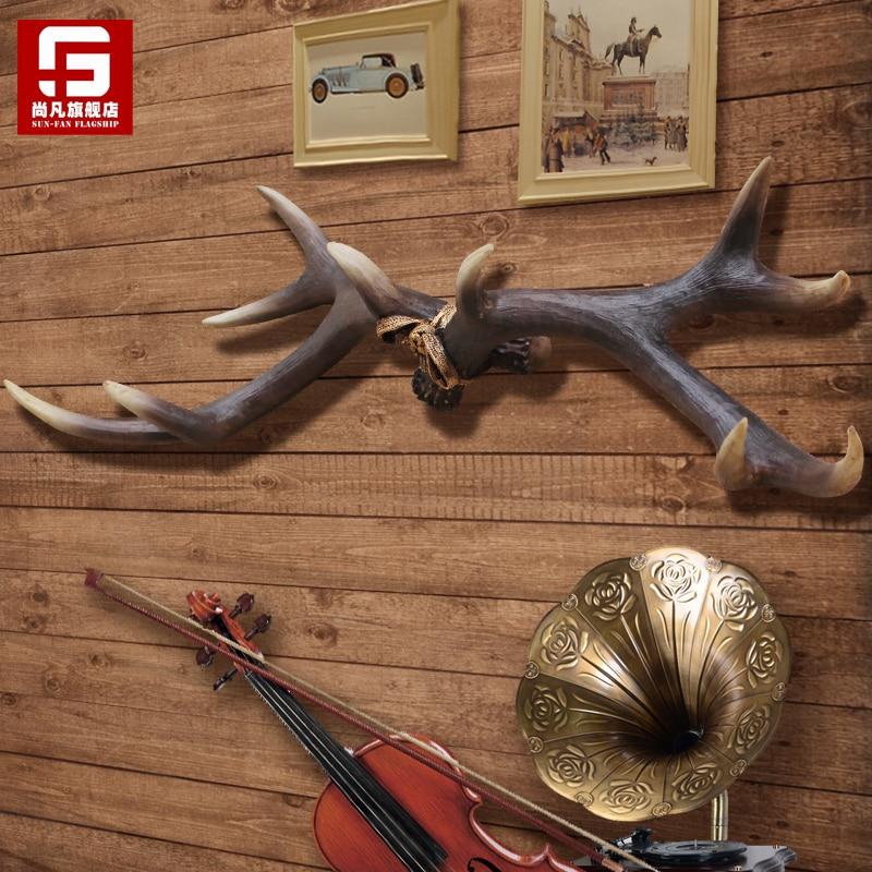 Vintage tentures décoration mur créatif grand cerf bois clés chapeaux bijoux sac tissu crochet cintre avec vis et ancres bois