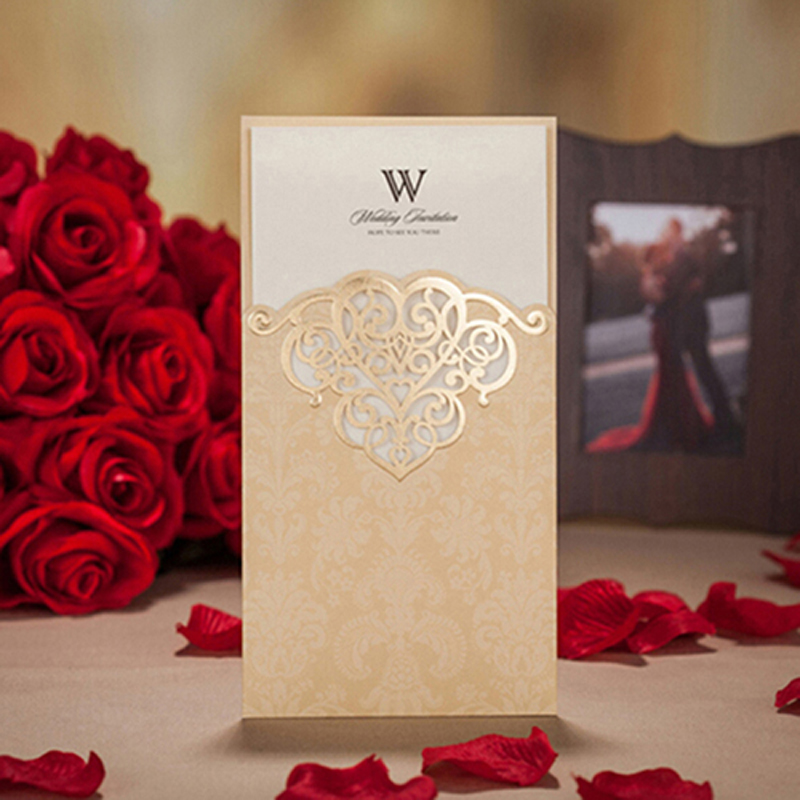 50pcs Gold Red Laser Cut Hollow Flower Marriage Wedding Invitation Cards 3D Card Greeting Cards Postcard Event Party Supplies 1pcs sample laser cut bride and groom marriage wedding invitations cards greeting cards 3d cards postcard event party supplies