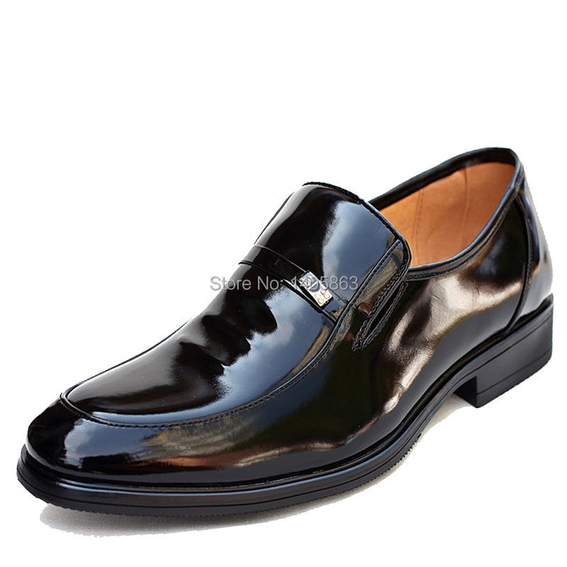 2014 Spring New Mens Business Dress Shoes Shiny Black Pu Leather