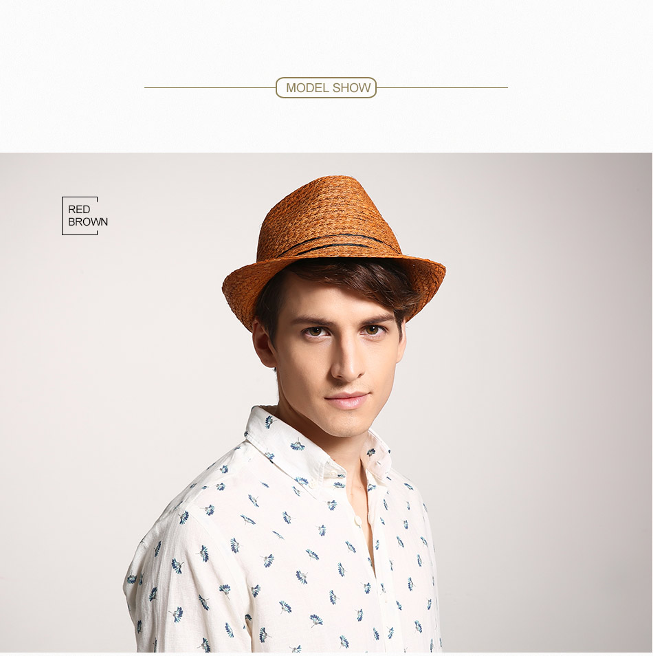 93935aa8 Sombrero de paja de rafia clásico de los hombres sombreros de Sol de  protección UV de verano para hombre gorra de fedora de moda unisex gorra de  ...
