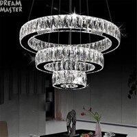 Modern Chrome Pendant Lights Long Crystals Diamond Ring LED Lamp Stainless Steel Hanging Light Fixtures Cristal