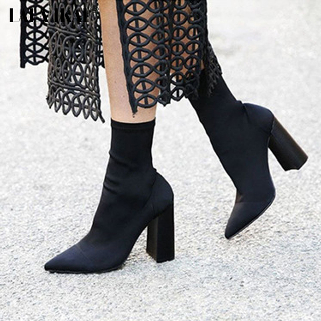 539b0f2d8f1 LALA IKAI Sexy Stretch Fabric High Heel Ankle Boot Women Slip-On Square Heel  Short Boots Zapatos Mujer XWN1390-35