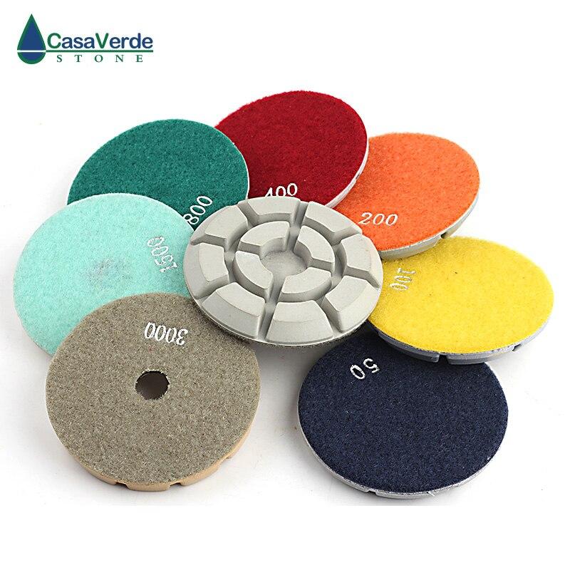 Livraison gratuite tampons de polissage de sol en diamant blanc humide 4 pouces 100mm pour le polissage du marbre de béton de granit